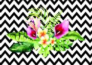 Quadro Tropical Floral com Chevron